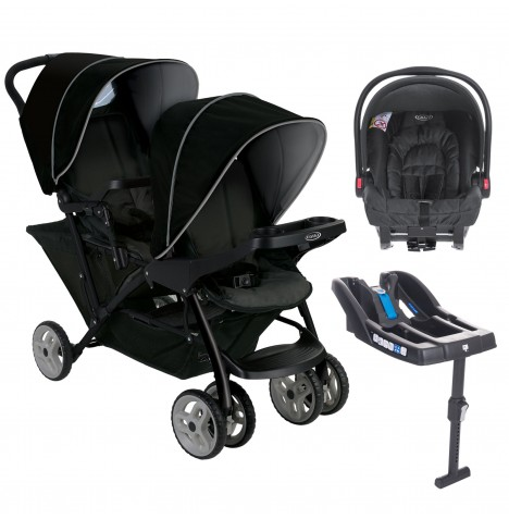 Graco Stadium Duo Double Pram Travel System & Snugride Base - Black / Grey